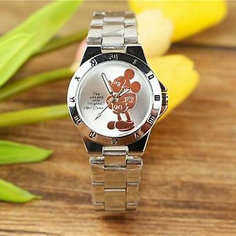 Mickey Mouse Steel Quartz Watch Cartoon Crystal Diamond Ladies Student  Women