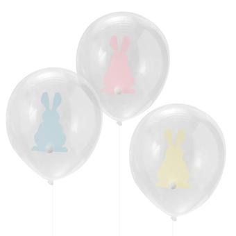 Easter Bunny Balloons with Pom Poms x 9 - Easter Party