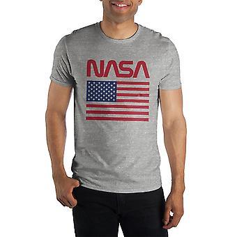 American flag nasa gray men's specialty hand print tee shirt t-shirt