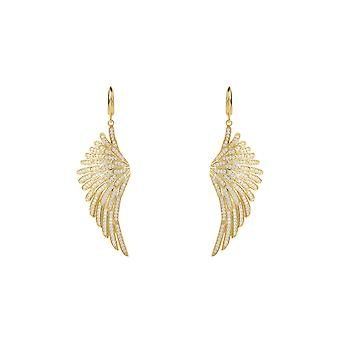 Angel Wings Large Drop Earrings Yellow Gold Sterling Silver CZ Big Dangle Bridal