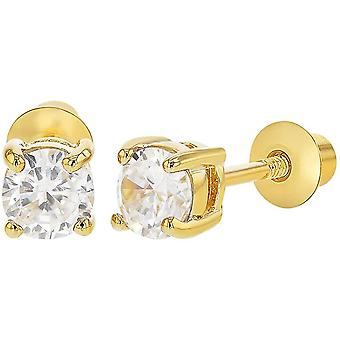 18k Gold Plated April Prong Set Clear Crystal Screw Back Girls Earrings