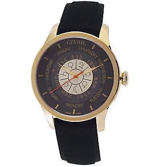 Gevril Men's Columbus Circle Silver Dial Rubber Watch