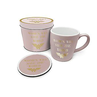 Wonder Woman Save The World Mug and Coaster Set