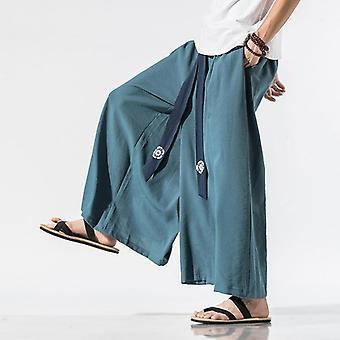 Men Wide Leg Pants, Cotton Retro Loose Trousers, Linen Pant, Big Crotch