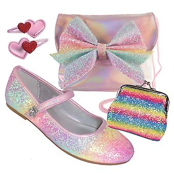 Meisjes roze regenboog glitter ballerina schoenen, tas en accessoires set