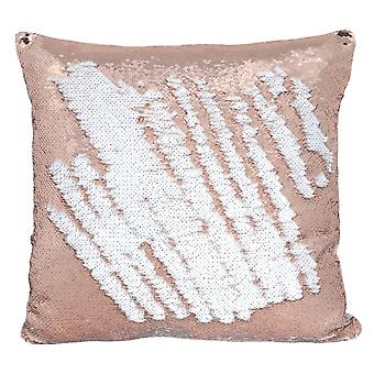 Pink and White Reversible Sequin Cushion