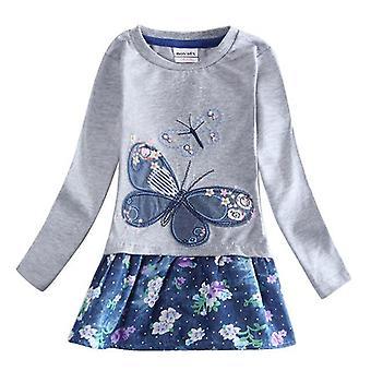 長袖の女の子のドレス、蝶