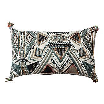 20 x 12 almohada de acento de algodón tejido a mano con estampado abstracto, blanco y azul