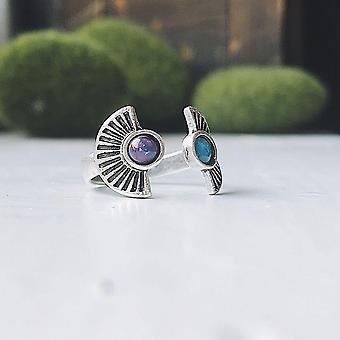 Dwa kamienne sunburst pierścień