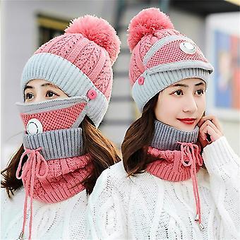 Women Knitted Wool Scarf Hat