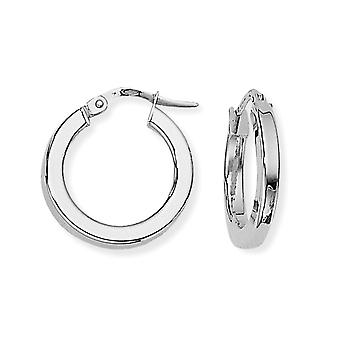 Jewelco London Ladies 9ct White Gold Square Tube Round Hoop Boucles d'oreilles - 17mm