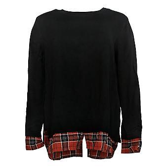 Joan Rivers Classics Coleção Women's Sweater Long Sleeve Black A366908