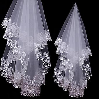 Cathedral Wedding Veils Short One Layer Bridal Veil Appliques Pizzo Bordo Senza Pettine