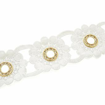 50mm Wide Diamante Eyelets Studded Lace Ribbon