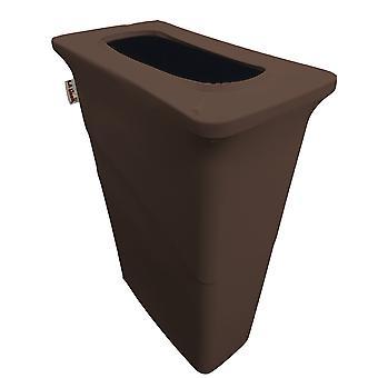 La Linen Stretch Spandex Trash Can Cover For Slim Jim 23-Gallon, Brown