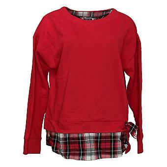 Izod Women's Tie Front 2 Fer Sweatshirt Red W/ Plaid Detail