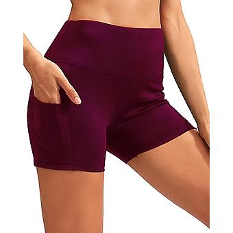 Calcao High Waist Yoga Shorts With Pocket - Red