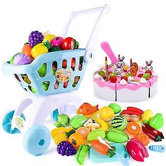 Supermarked Handlevogn Tralle- Push Bil, Basket Frukt Mat, Late Play