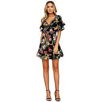 Ženy kvetinové mini jarné šaty v krku svetlice rukáv elastický pás ležérne a-podšitý
