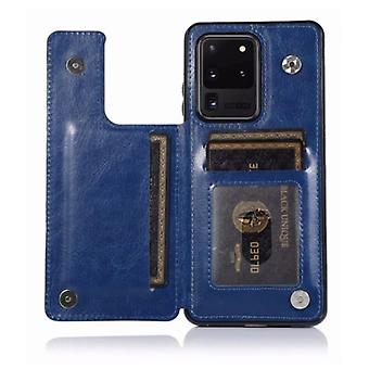 WeFor Samsung Galaxy S20 Ultra Retro Leather Flip Case Wallet - Wallet PU Leather Cover Cas Case Blue