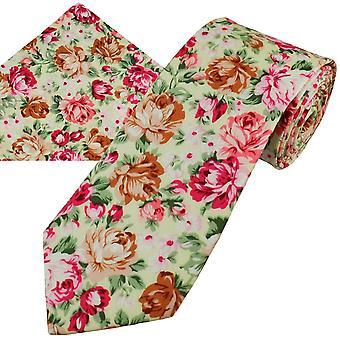 Krawatten Planet Zitrone gelb, rosa, braun, weiß & grün Blume gemusterte Baumwolle Männer 's Krawatte & Tasche Platz Taschentuch Set