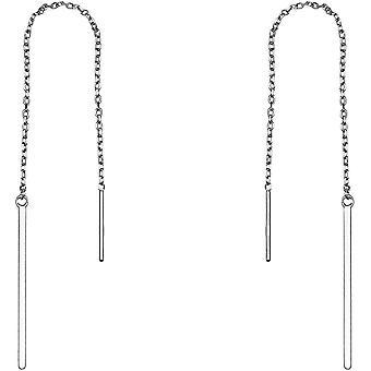 FengChun Damen Ohrringe Durchzieher Stab Kette Silber 20581