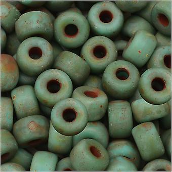 Tšekin lasi matubo, 2/0 siemenet äkkiä, 20 gramman putki, turkoosi vihreä matta tumma travertiini