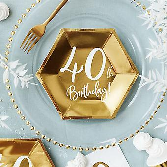 Gold 40th Birthday Party Paper Plates Partyware Tableware 20cm X 6