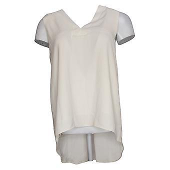Lisa Rinna Collection Women's Top V-Neck Sleeveless Blouse White