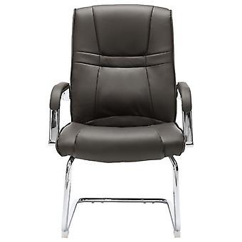 vidaXL cantilever stoel bureaustoel grijs kunstleer