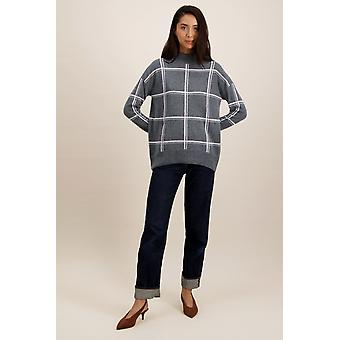 Loop Cashmere Turtle Neck Sweater In Pewter/Mallow Check