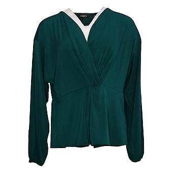 IMAN Global Chic Women's Top Medium Long Sleeve Twist-Front Green 711746