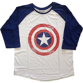 Marvel Comics - Captain America Distress Shields Unisex Medium Raglan T-paita - sininen, Valkoinen