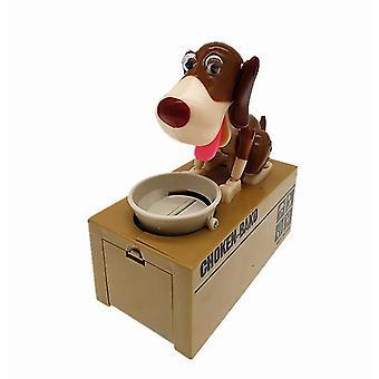 الأبيض + البني دمية الأطفال يأكل تلقائيا المال جرو بنك أصبع يسرق المال الكلب أصبع البنك az15025