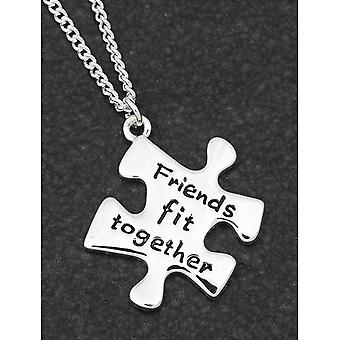 Jigsaw Silver Plated Necklace Friends