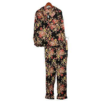 Tolani Collection Damen Pyjama Set Blumendruck Schwarz A390127