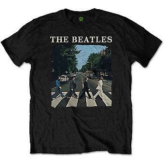 The Beatles Abbey Road & Logo Heren Zwart T Shirt: Medium