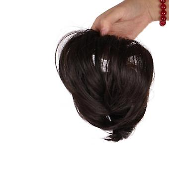 2 Pcs Girls Straight Scrunchie Chignon with Elastic Rubber Band Synthetic Hair Ring Wrap On Ponytail