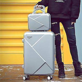 Retro rullaava matkatavaravaunukotelo kosmeettisen laukun kanssa