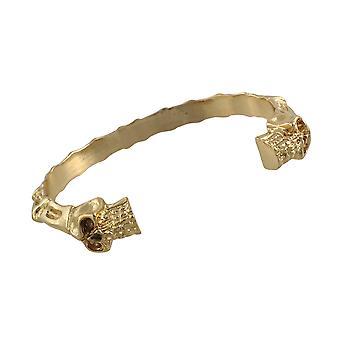Gepolijste Goldtone afwerking schedels en botten Torc armband manchet