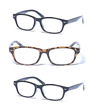 """""""The Intellect"""" 3 Pair of Unisex Reading Glasses - Microfiber Soft Pouches Included - Black/Tortoise - 3.00"""
