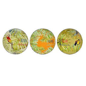 Flat plate DKD Hjem Dekor Bahamas Engangspapir (3 stk) (13 x 13 x 13 cm)