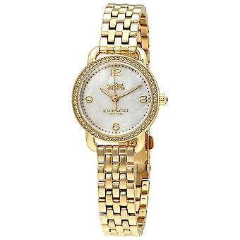 Coach Delancey Mother of Pearl Quadrante Ladies Gold Tone Watch 14502478