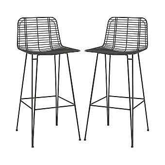 2x Métal Fil Bar Tabourets Cuisine Industrielle Salle à manger Meubles Chaise Noir