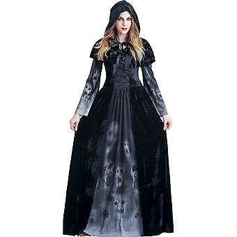 Womens Reaper Costume Medieval Dress Fashion Long Sleeve Hooded Halloween Cosplay