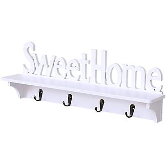 Sweet Home Wall Mounted Rack Wall Door Hanger Hook Storage Rack For Coat Hat Clothes Key (white)