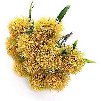 10 Pcs Dandelion Artificial Flowers Plants Bouquet Plastic Flower For Home Decoration / Wedding Decor (green)