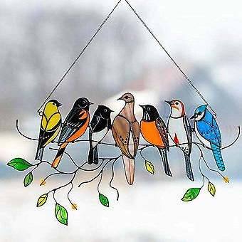 ציפור צבעונית על חוט אקריליק Suncatcher חלון תלוי תפאורה