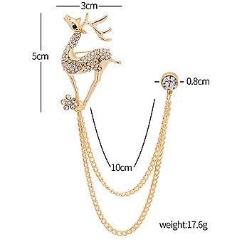 New Hot - Selling Blazer Shirt Elk Diamond Chain Brooch