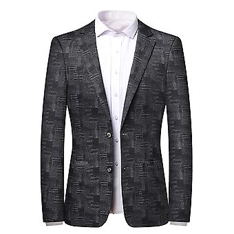 Mile Men's Pattern Single Row Two Buttons No Slit Casual Suit Black Gray